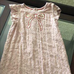 Mini Boden girls pink lace dress